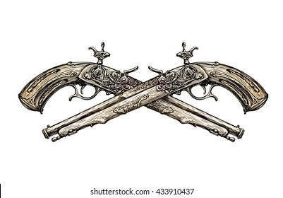 Crossed vintage Pistols. Hand drawn sketch ancient weapon. Duel. Musket Vector illustration