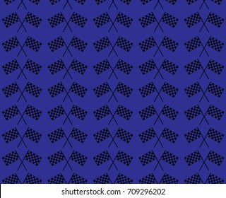 Crossed waving black and white checkered flags seamless pattern background vector endless texture. Original concept of motor sport