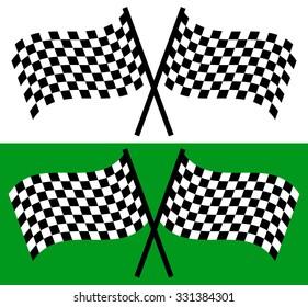 Crossed waving checkered racing flags. editable vector