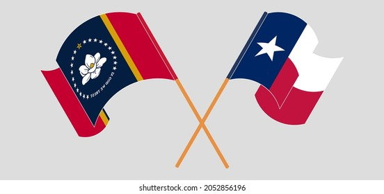 Crossed and waving flags of The State of Mississippi and the State of Texas
