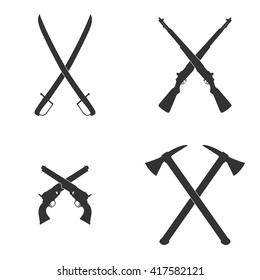 Crossed weapon. Set of vintage heraldic symbols: swords, axes, rifles, pistols. Vector illustration. Sign of hostilities, rebellions, riots. Contours isolated on white. Melee weapons and firearms.