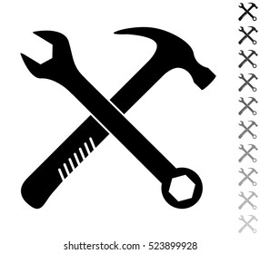Crossed wrench and hammer - black vector icon and ten icons in  shades of grey