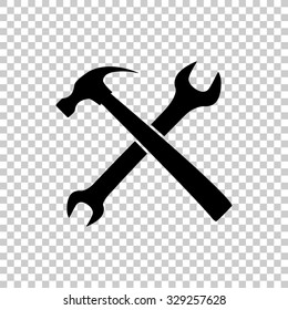 crossed wrench and hammer vector icon - black illustration