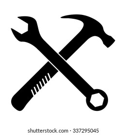 crossed wrench and hammer vector icon