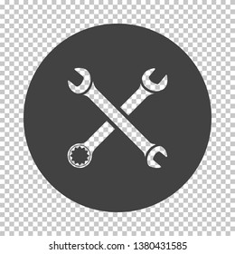 Crossed wrench  icon. Subtract stencil design on tranparency grid. Vector illustration.