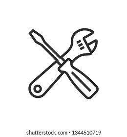 Crossed wrench and screwdriver line icon