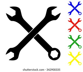 crossed wrenches icon - vector colored set