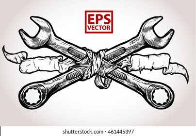 Crossed wrenches and old ribbon graphic vector on a white background