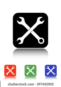 crossed wrenches vector icon - black and colored buttons