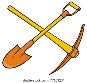 Crossed yellow and orange pick axe and shovel icon on white background.