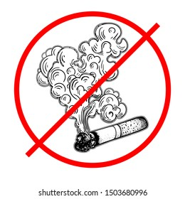 A crossed-out Smoking cigarette. Sign prohibiting Smoking. Signboard or nameplate. Tobacco or cannabis, marijuana rolled in a cigarette. Drug. Vector illustration.