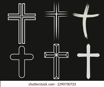 Crosses of christian religion. Set of isolated orthodoxy and catholicism divine symbols in shape of cross, Jesus Christ and God, faith sign.