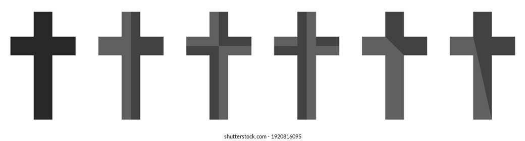 Crosses icons set. Vector set of trendy Christian crosses. Set of gray crosses isolated on white background. Icons for graphic design, website. Religion symbols set. Vector illustration.