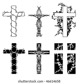 Crosses with thorn vines in two styles