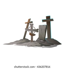 Crosses and tombstones in the old cemetery isolated on white background. Vector cartoon close-up illustration.