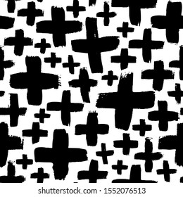 Crosses vector seamless pattern. Black and white grunge texture with pluses or x. Abstract background with brush strokes. Geometrical seamless pattern for wallpaper, web, design or textile