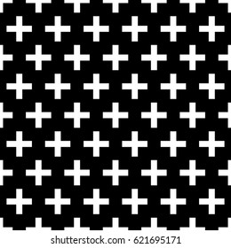 Crosses wallpaper. Repeated white figures on black background. Seamless surface pattern design with polygons. Mosaic motif. Digital paper for page fills, web designing, textile print. Vector art.