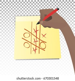 Crosses and zeroes game. Concept of victory. The hand is writing a marker on the sticker. Illustration for your design.