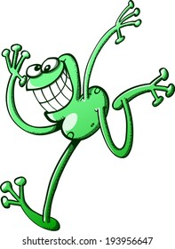 Cross-eyed green frog while posing, jumping down, grinning and raising its right arm to greet mischievously