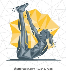 Crossfit concept. Vector silhouettes of woman doing fitness and crossfit workouts in many different position. Active and healthy life concept
