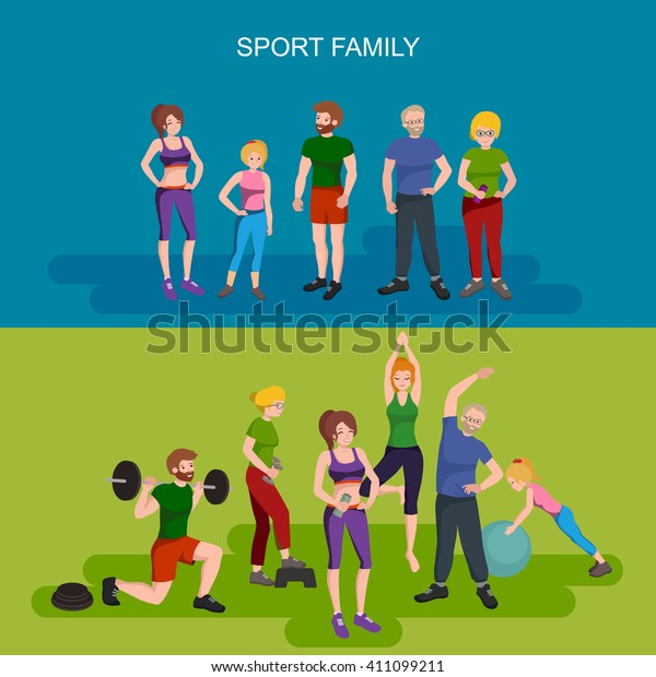 Crossfit Family Vector Set Fitness People Stock Vector