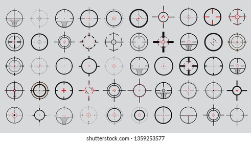 Crosshair (gun sight), target icons set. Target aim and aiming to bullseye signs symbol. Abstract concept graphic games shooters element.