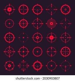 Crosshair, gun sight vector icons. Bullseye, red target or aim symbol. Military rifle scope, shooting mark sign. Targeting, aiming for a shot. Archery, hunting and sports shooting. Game UI element.
