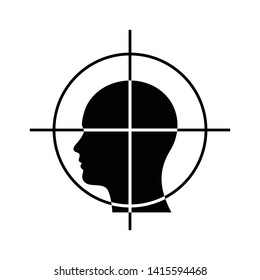 Crosshair in human head icon. Aimed head icon. Headshot logo. head target.