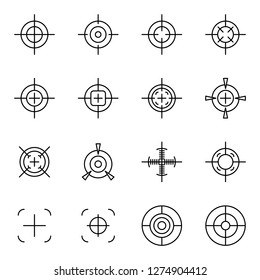 Crosshair icons pack. Isolated crosshair symbols collection. Graphic icons element