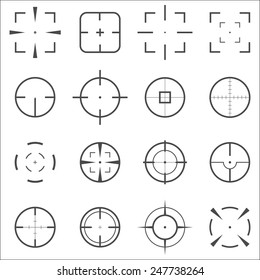 Crosshair icons set for computer games shooters or original mouse cursors  pointers for computer programs.  Sixteen vector target aim symbols. Circles and rounded squares buttons.