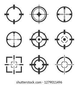 Crosshair icons vector set isolated. Crosshairs for video games, web and app