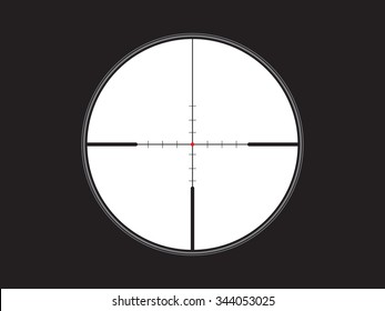 crosshair, reticle with red dot, vector