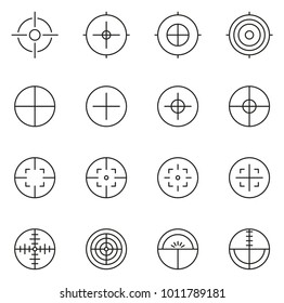 Crosshair or Sight Icons Thin Line Vector Illustration Set