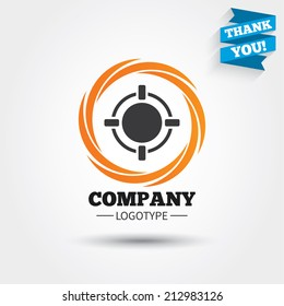 Crosshair sign icon. Target aim symbol. Business abstract circle logo. Logotype with Thank you ribbon. Vector