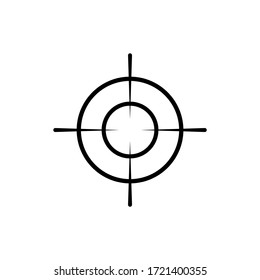 Crosshair and target, sight, sniper icon in black for web, mobile on isolated white background. EPS 10 vector.