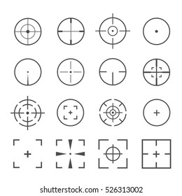 Crosshairs icon vector set isolated on a background. Round and square crosshairs for video games and applications.