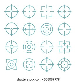 Crosshairs icons set in line style.  Aiming and target  to bullseye vector illustration.