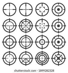Crosshairs icons set on white background