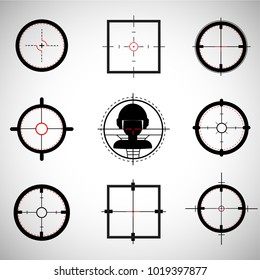 Crosshairs set. Round and square crosshairs for video games and applications. Simple different sniper crosshairs in a flat linear style.