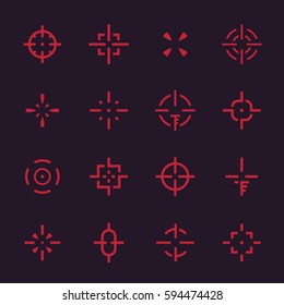 crosshairs set, vector elements for interfaces on dark