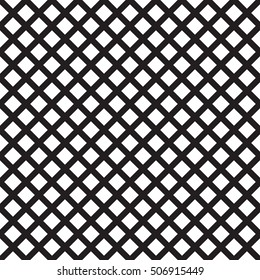 Crosshatch vector seamless pattern. Crossed graphic pattern. Seamless black and white background texture of crosshatched bold lines. Diagonal trellis pattern. Simple fabric print.