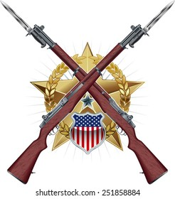 crossing american rifles with bayonet over military badge