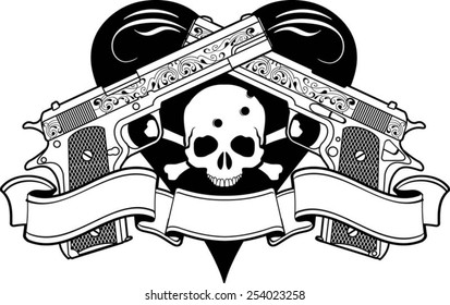 crossing pistol with ornaments, banner and a skull