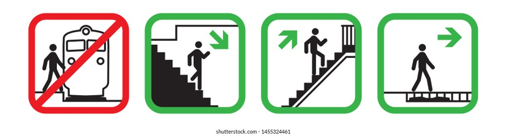 Crossing of railways in permitted places, Not Allowed Sign, warning symbol, road symbol sign, pictogram , vector illustration