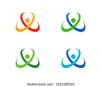 Crossing Swoosh People Logo Template