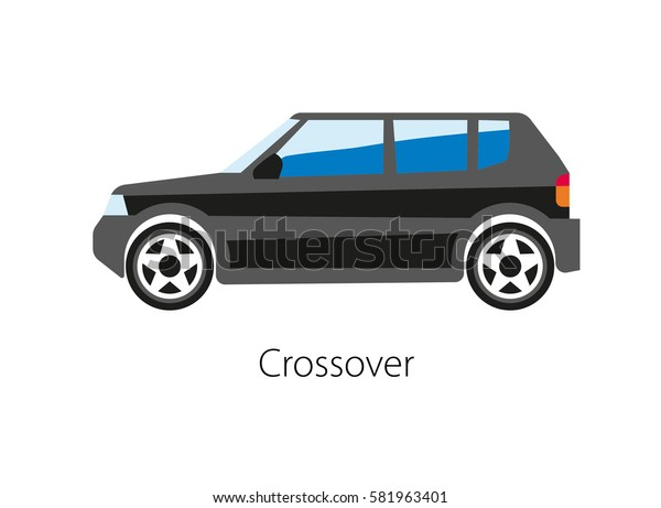 Crossover isolated on white. Crossover utility vehicle CUV built on car platform and combining features of a sport utility vehicle SUV with passenger vehicle. Vector illustration of black car model