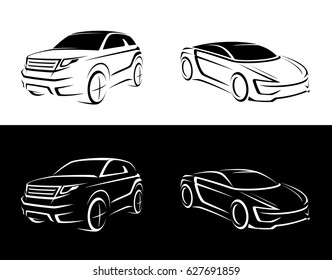 crossover, offroader, sports car sketch