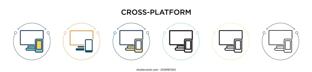 Cross-platform icon in filled, thin line, outline and stroke style. Vector illustration of two colored and black cross-platform vector icons designs can be used for mobile, ui, web