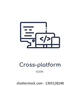cross-platform icon from programming outline collection. Thin line cross-platform icon isolated on white background.