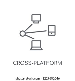 Cross-platform linear icon. Modern outline Cross-platform logo concept on white background from Programming collection. Suitable for use on web apps, mobile apps and print media.